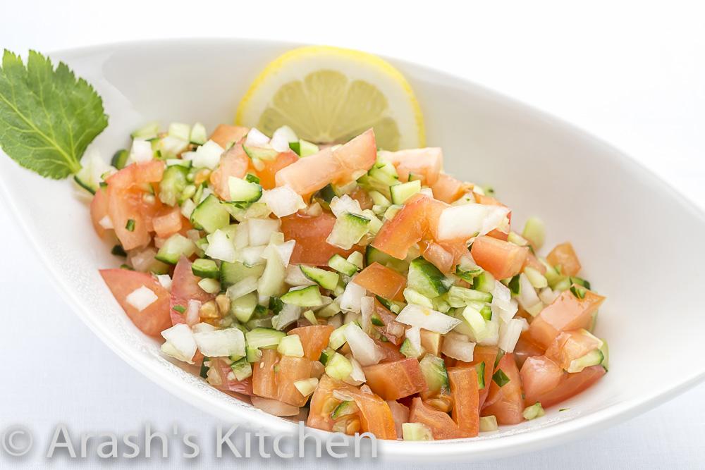 サラダ シラジー  (角切りサラダー) Persian Salad (Shirazi) (Diced  cucumber, tomato,  onion and parsley )
