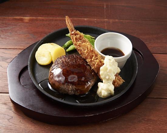 【3D】All Beef ハンバーグ&海老フライ~選べるソース